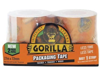 Gorilla Packaging Tape Refill 72mm x 27m  (Pack 2)